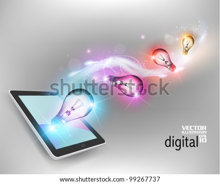 stylish digital tablet with light bulb conceptual design - stock vector