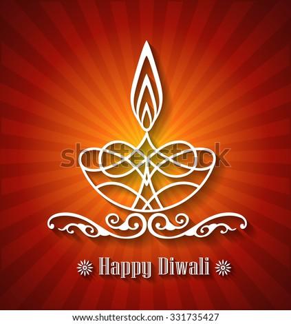 Stylish Diwali Lamp Design - stock vector