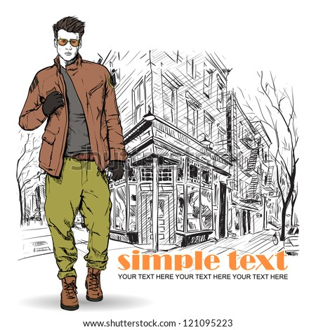 Stylish dude  on a street-cafe background. Vector illustration. - stock vector