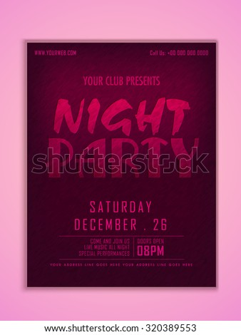 Stylish elegant flyer, banner or template for Night Party celebration with date and time details. - stock vector