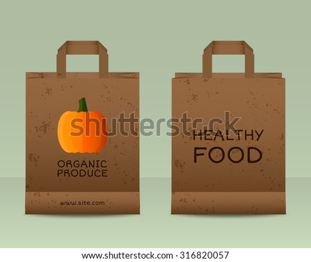 Stylish Farm Fresh paper bags template. Mock up design with pumpkin. Vintage colors. Best for natural shop, organic fairs, eco markets and local companies. Vector illustration - stock vector
