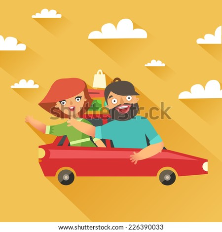 Stylish fashion couple traveling by car. Happy woman and man waving hands in red car with a lot of bags. Vector colorful illustration in flat design style - stock vector