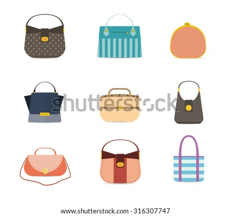 Stylish fashion set with trendy woman's bags. vector illustration - stock vector - stock vector