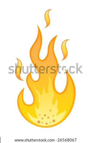 stylish flame on white background - stock vector