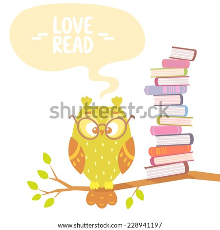 Stylish flat card with beautiful and funny owl and books with place for text - stock vector