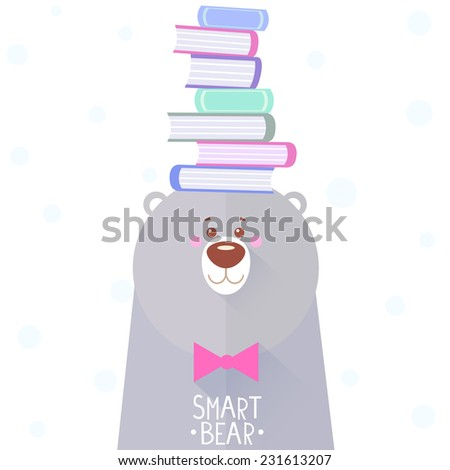Stylish flat card with funny and cute bear with books on her head - stock vector