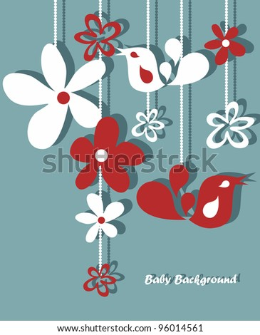 Stylish floral background, hand drawn retro flowers and birds - stock vector