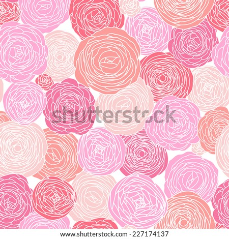 Stylish floral background made of roses in pink. Seamless pattern can be used for wallpapers, pattern fills, web page backgrounds,surface textures. Gorgeous seamless floral background - stock vector