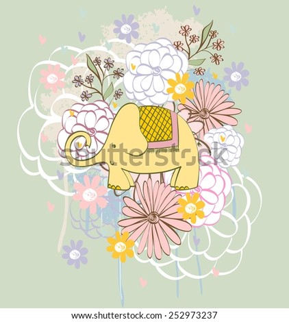 Stylish floral background with cartoon elephant  in light colors. - stock vector