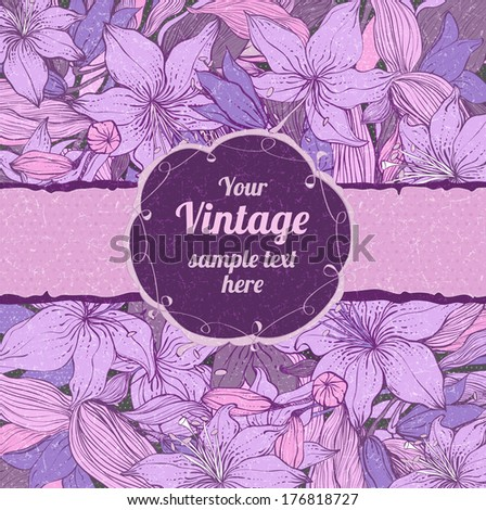 Stylish floral background with frame. Element for design. Vintage vector illustration. Lily pattern with scratch effect. Shabby chic - stock vector