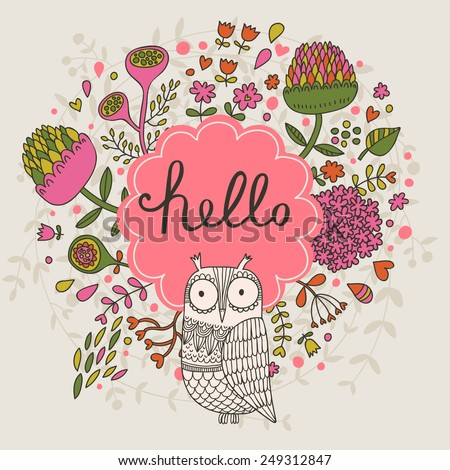 Stylish floral card made of cute clover flowers and owl in bright colors in vector. Awesome cartoon card for summer designs - stock vector
