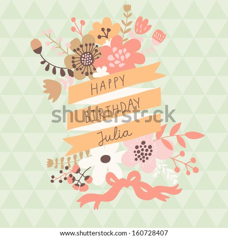Stylish floral design element with textbox in vector. Bright spring card ideal for vintage holiday invitations - stock vector