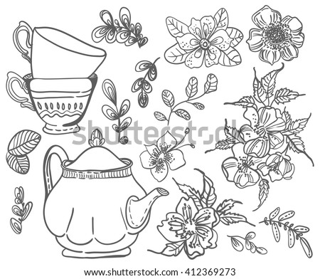 Stylish floral doodle background, retro flowers cups and tea pot, hand drawing  illustration, collection of elements, Vector - stock vector