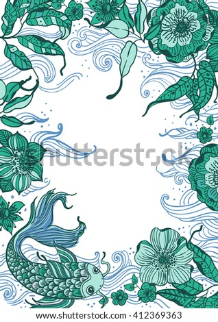 Stylish floral doodle background with koi fish and flowers, retro flowers, hand drawing  illustration, Vector - stock vector