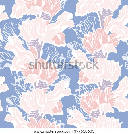 Stylish floral Seamless Background. Vector Pattern with iris flowers. Pastel colored Ornament. - stock vector