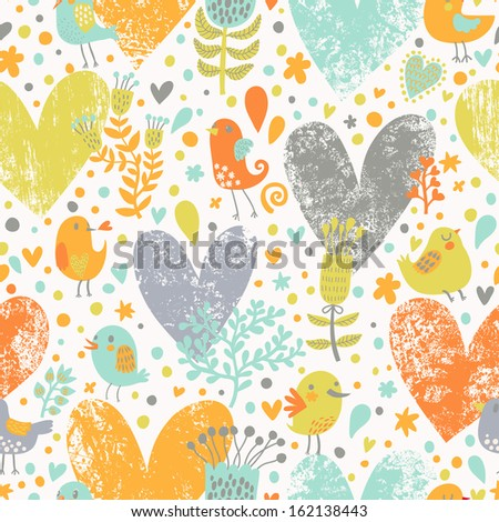 Stylish floral seamless pattern with birds in vector. Cute cartoon natural background in bright colors. Romantic concept seamless pattern with a lot of colorful hearts - stock vector