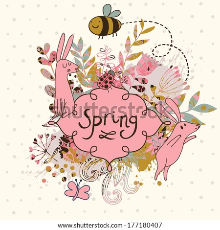 Stylish floral wedding invitation with cute rabbits. Nice vector card. Ideal for any types of invitation in retro style. - stock vector