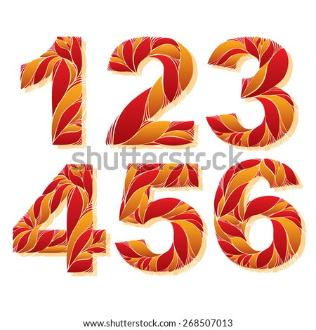 Stylish flower-patterned figures. Ornamental numbers with floral pattern, 1, 2, 3, 4, 5, 6. - stock vector