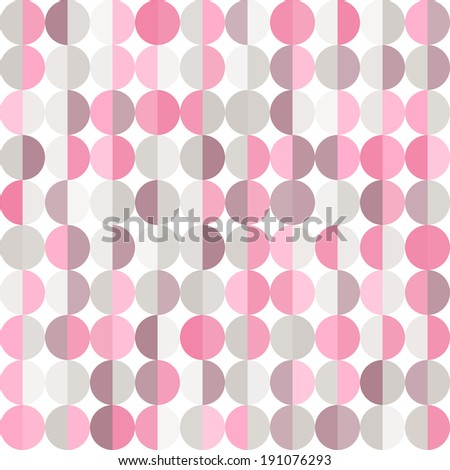 Stylish geometric abstract background with pastel pink and grey circles - stock vector