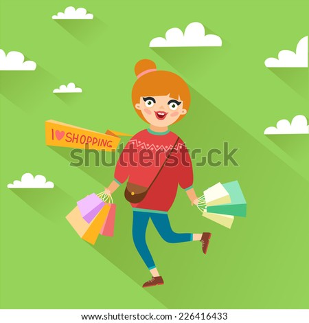 """Stylish girl holding a lot of shopping bags, """"I love shopping"""" ribbon or place for other text. Vector colorful illustration in flat design style - stock vector"""