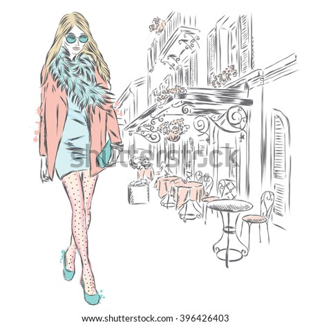 Stylish girl on a city street. Vector illustration. - stock vector