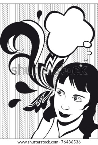 stylish girl with frame - stock vector