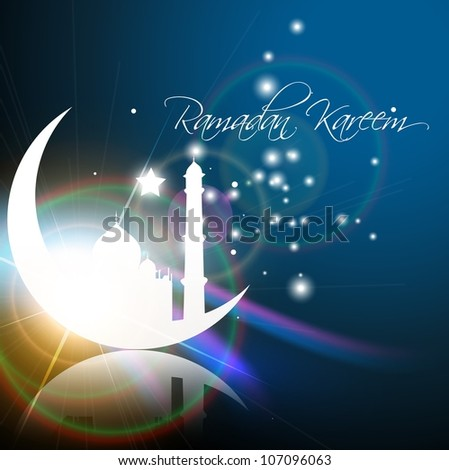stylish glowing ramadan kareem vector illustration - stock vector