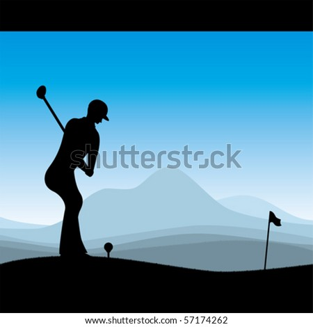 Stylish golf illustration - stock vector
