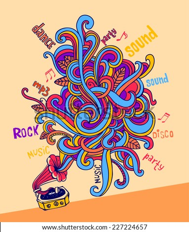 Stylish gramophone, which is letting out music as a colorful pattern. For banners, backgrounds, presentations, party invitations, flyers, posters.  - stock vector