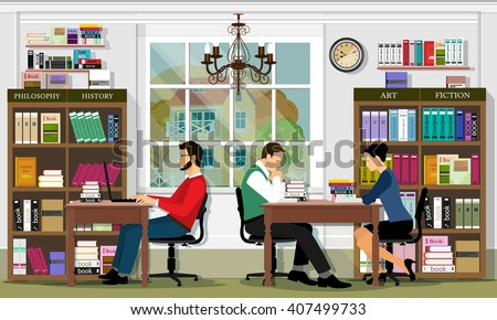Stylish graphic library interior with furniture and people. Reading area of the library. - stock vector