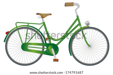 Stylish green bicycle - stock vector