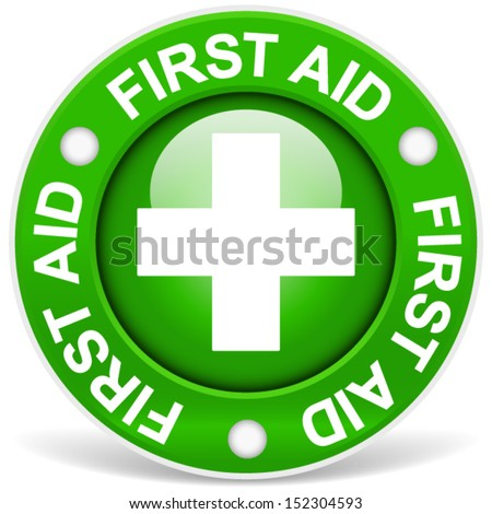 "Stylish green ""first aid"" badge - stock vector"