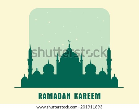 Stylish green mosque on shiny green and beige background for the holy month of Muslim community Ramadan Kareem.  - stock vector