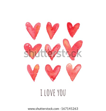 Stylish greeting card with red watercolor hearts. Vector illustration - stock vector