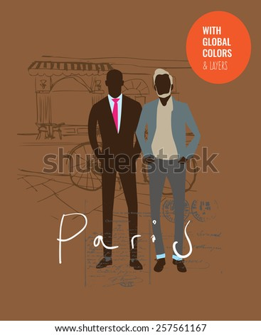 Stylish guys in a Paris street. Vector illustration Eps10 file. Global colors & layers. - stock vector