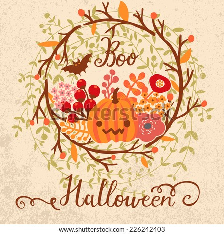 Stylish Halloween card in vector. Cure pumpkin in flowers - stock vector