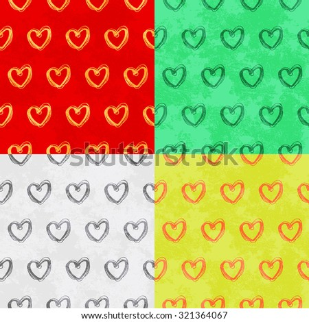 Stylish hand drawn hearts Seamless pattern  - stock vector