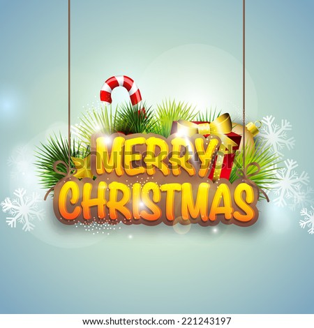 Stylish hanging text Merry Christmas decorated with red gift box, candy cane and fir trees on blue background.  - stock vector