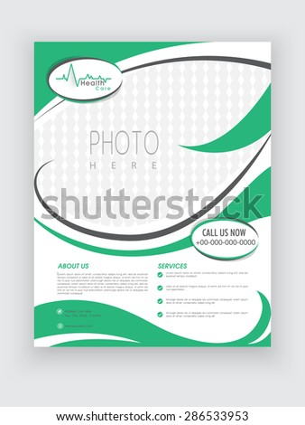 Stylish Health Care flyer in white and green color with place holders for your image and content. - stock vector