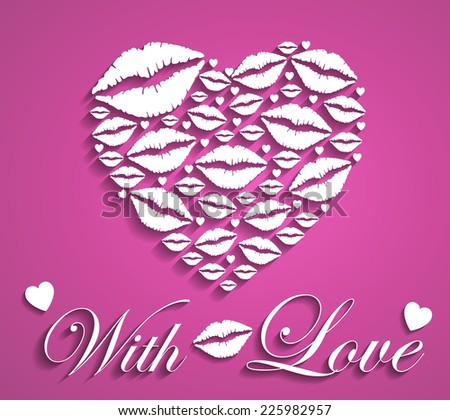 Stylish Heart Design with Lips - Valentine's Day Design - stock vector