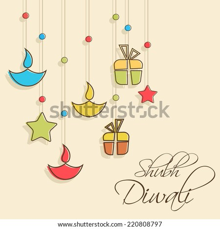 Stylish illuminated oil lit lamp, stars and gift hanging and beautiful text of shubh diwali on light orange background. - stock vector