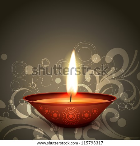 stylish indian festival diwali diya on dark background - stock vector