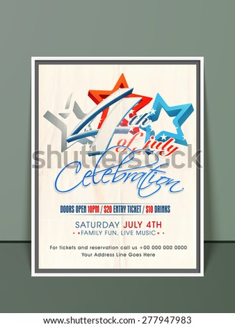 Stylish invitation card with 3D national flag color stars for 4th of July, American Independence Day celebration - stock vector
