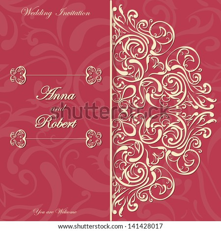 Stylish Invitation card with Round Lace design - stock vector