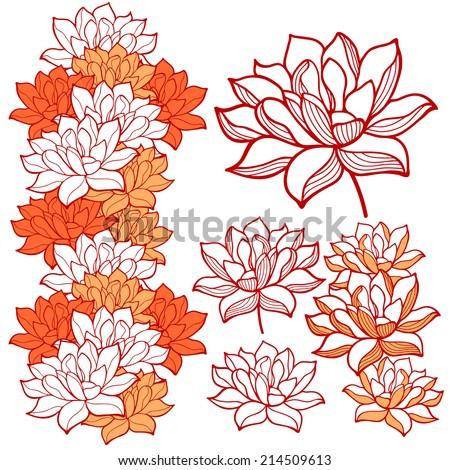 Stylish lotus flowers ornaments - stock vector