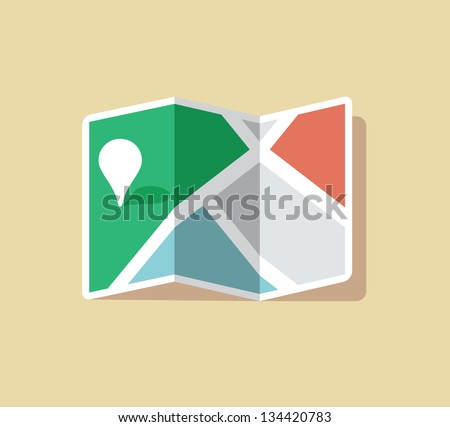 Stylish map and pin pointer with free space for your company logo. - stock vector