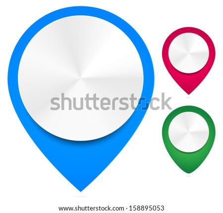 Stylish map markers. - Vector push pins, thumbtacks, needles - stock vector
