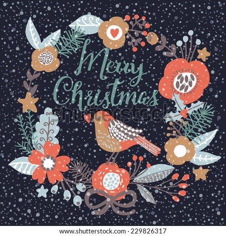 Stylish Merry Christmas card in cool dark colors. Awesome holiday background with birds in flowers and snowflakes. Beautiful design in vector - stock vector