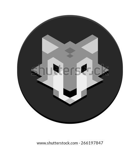 Stylish minimalistic polygonal wolf head inside a circle. - stock vector
