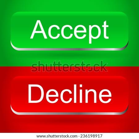 Stylish, modern accept, decline buttons - stock vector